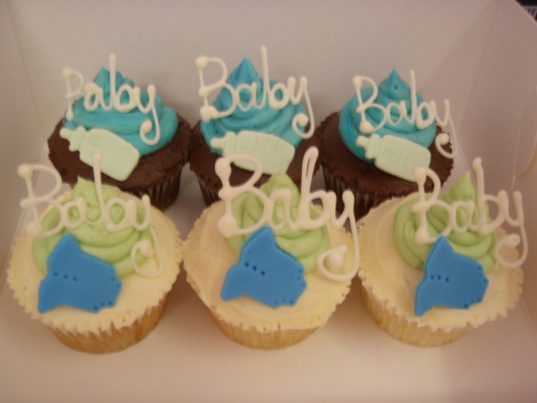 Custom Cupcakes for Baby Shower. Made by The Little Cupcake and Cookie ...